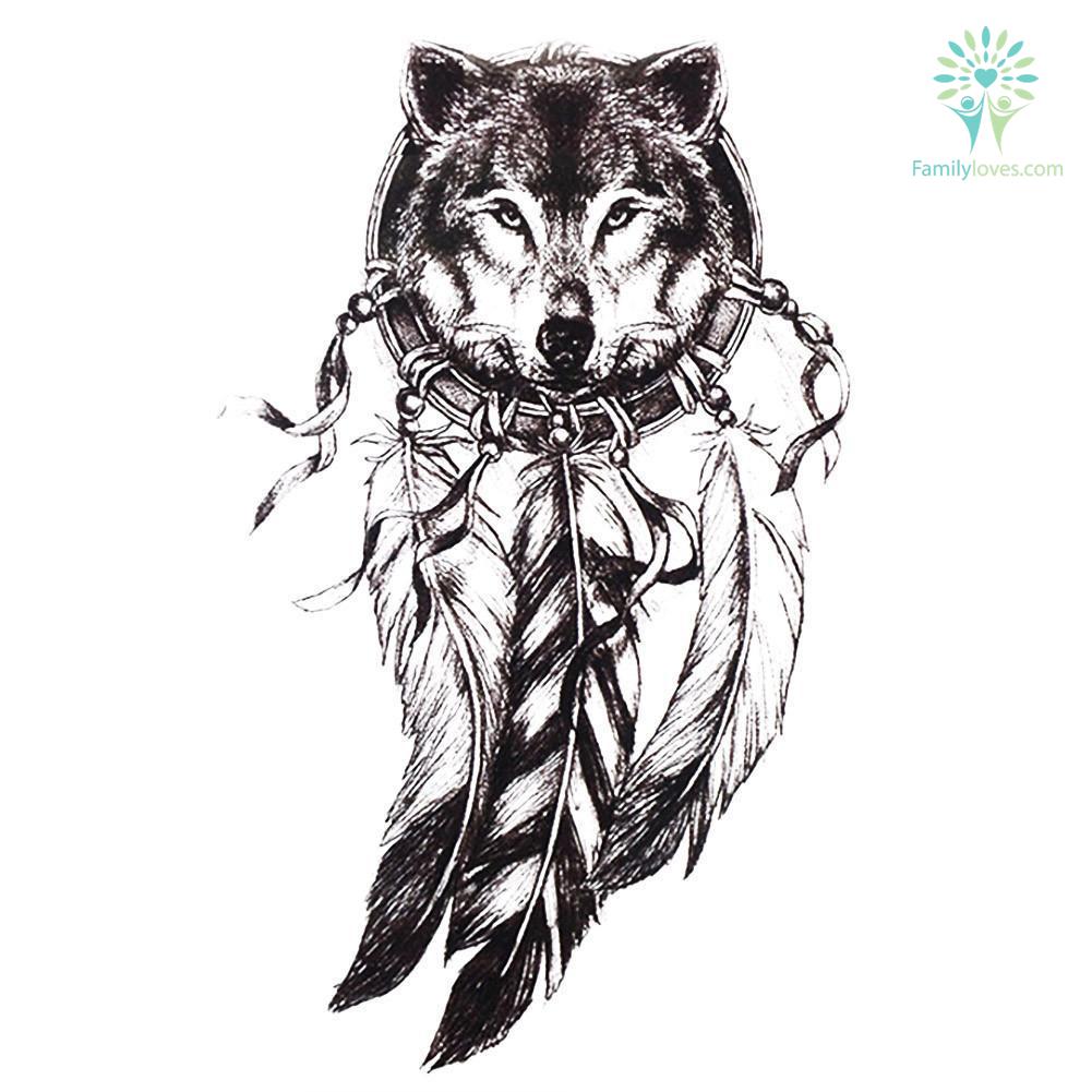 black-women-men_1fbe1fa6-33ff-fd5b-523e-59ccb72f254a Black Women Men 3D Body Art Wolf Dreamcatcher native american 14.8*21cm tattoo  %tag