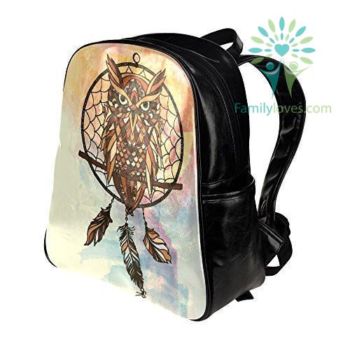 dreamcatcher-owls-pu_2c1ec506-ac87-3bb2-400e-6ed7e2c1dbbd Dreamcatcher Owls PU Leather Custom Backpack School Tavel Daypack Bag  %tag
