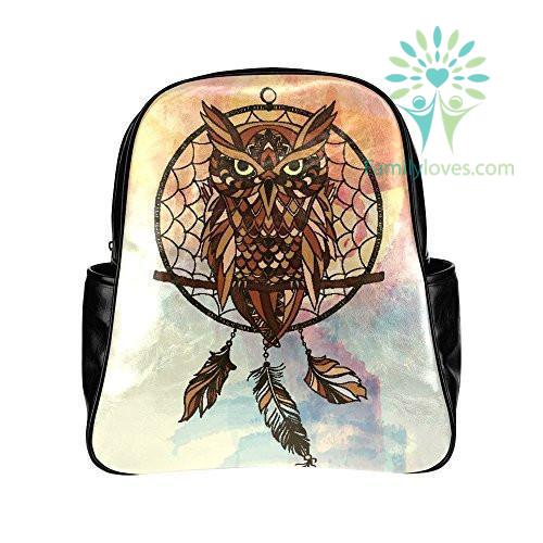 dreamcatcher-owls-pu_622a1ca6-ff79-2681-e1ed-88622169c7e7 Dreamcatcher Owls PU Leather Custom Backpack School Tavel Daypack Bag  %tag