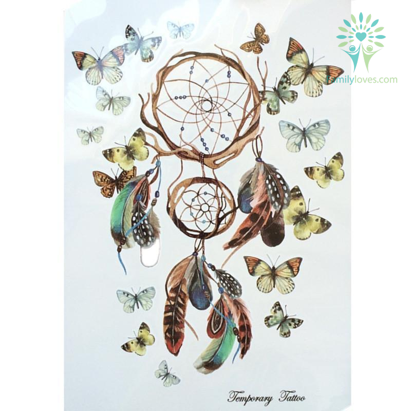 dreamcatcher-with-beautiful_ac6b6ade-4bf8-a2a6-3a7a-586b4a2da445 Dreamcatcher With Beautiful Butterfly Waterproof Hot Temporary Tattoo Stickers 21 X 15 CM  %tag