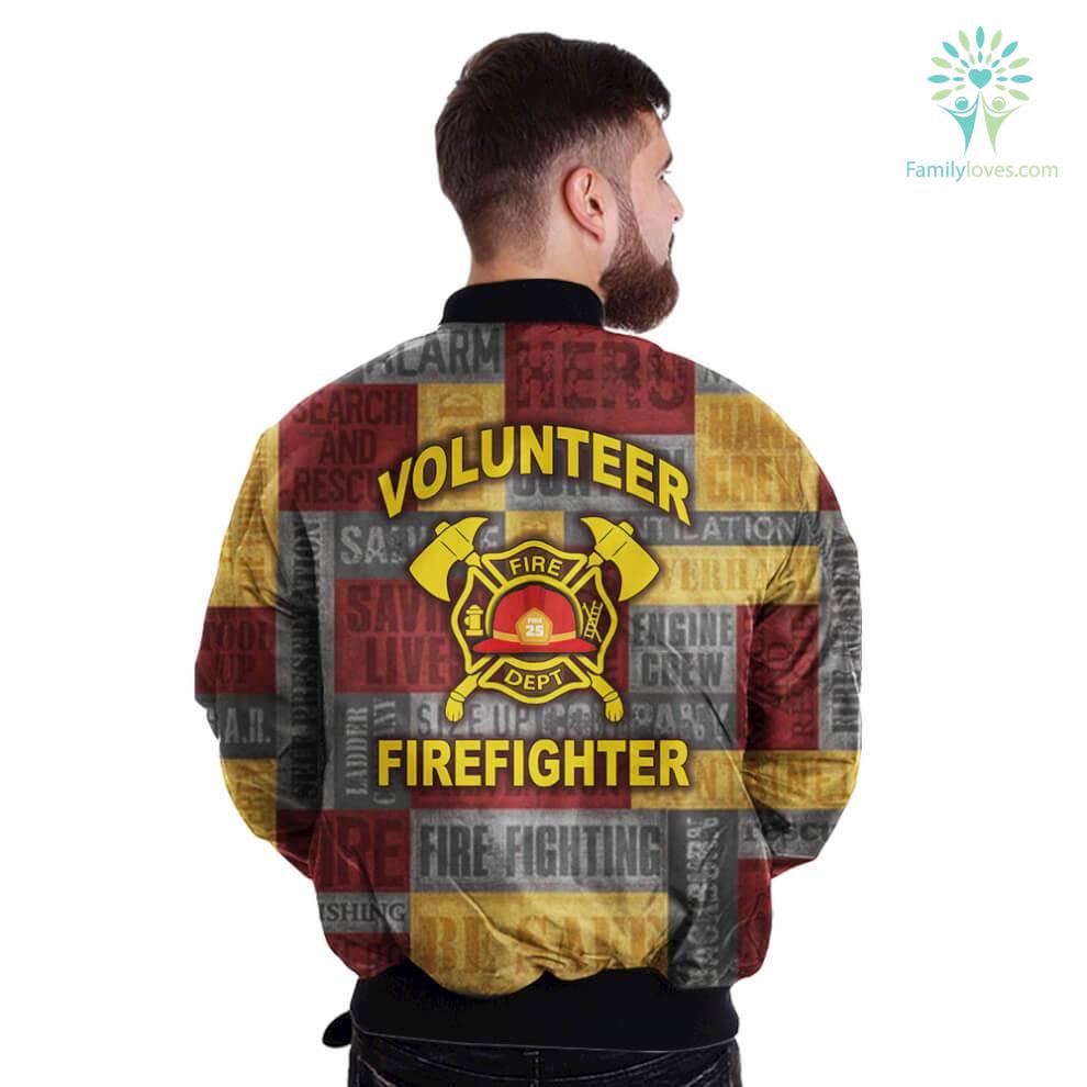 Volunteer Firefighter Fire Dept Over Print Bomber Jacket