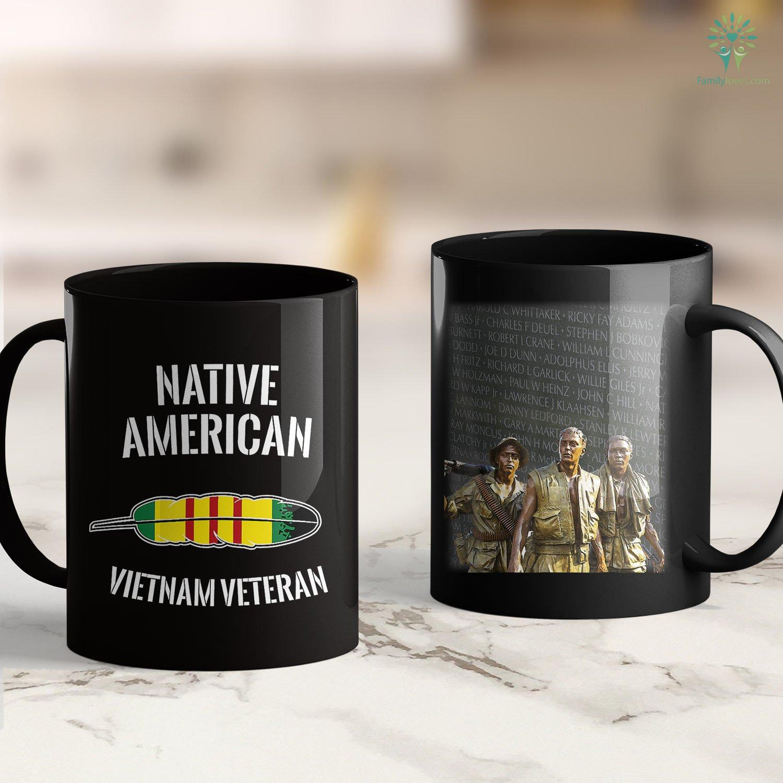 Vietnam Era Veterans Benefits Mens Native American Indian Vietnam Hero Veteran Feather T Shir 11oz 15oz Black Coffee Mug Familyloves Com